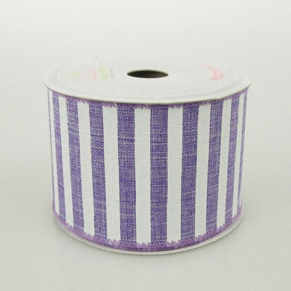 White Bold Lines Canvas Ribbon, 2-1/2-Inch, 10 Yards, Lavender