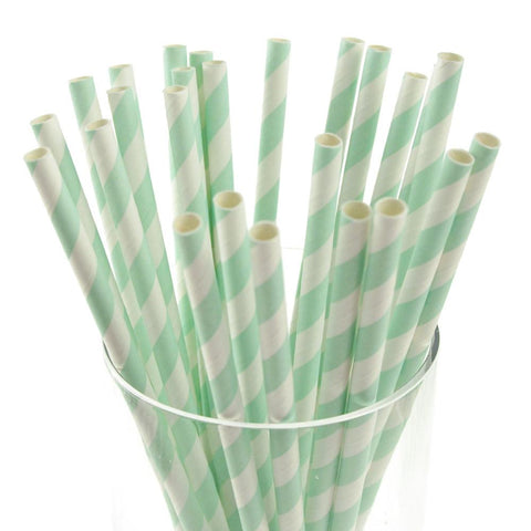 Candy Striped Paper Straws, 7-3/4-inch, 25-Piece, Light Blue/White