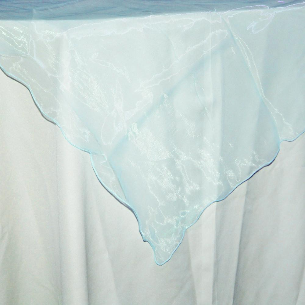 Organza Table Cover Overlay, 80-inch, Light Blue