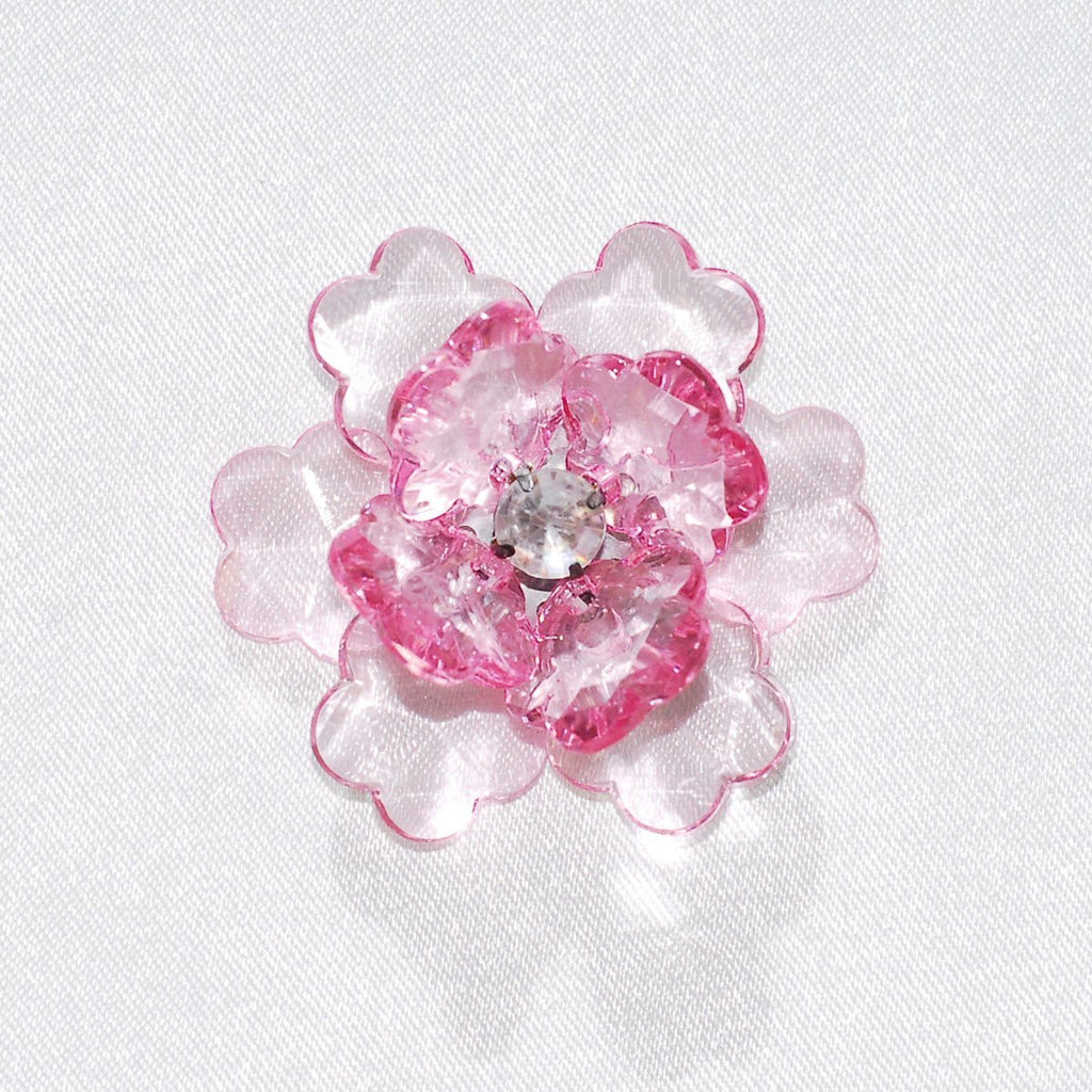 Flower Lotus Crystal, Shredded Edge, 1-3/4-inch, 6-Piece, Light Pink