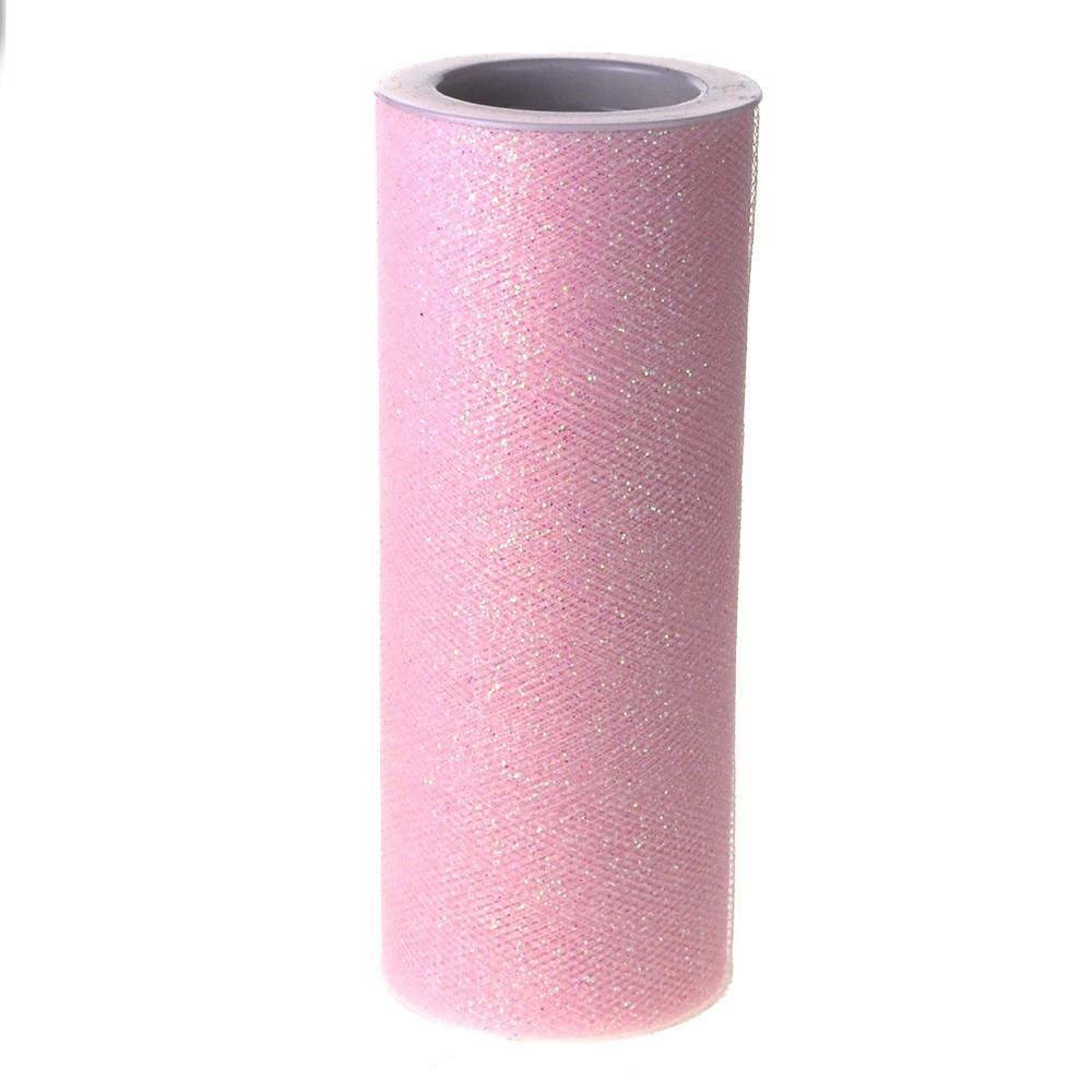 Glitter Tulle Spool Roll, 6-Inch, 10 Yards, Light Pink