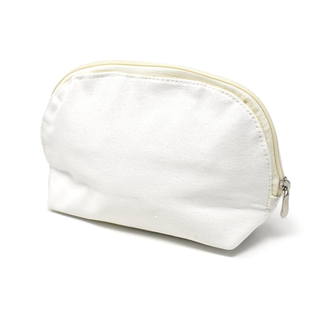 Oval Cotton Muslin Cosmetic Makeup Bag, 5-1/2-Inch, Silver