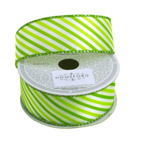 Candy Summer Striped Polyester Ribbon, 1-1/2-Inch, 10 Yards, Green