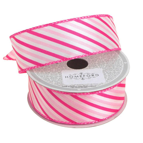 Candy Summer Striped Polyester Ribbon, 1-1/2-Inch, 10 Yards, Hot Pink