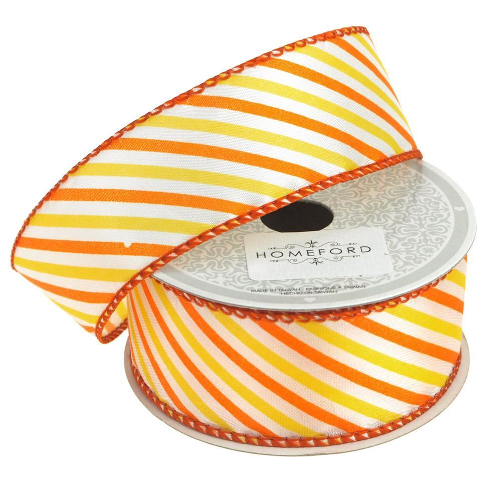 Candy Summer Striped Polyester Ribbon, 1-1/2-Inch, 10 Yards, Orange