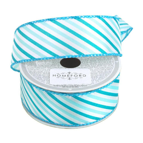 Candy Summer Striped Polyester Ribbon, 1-1/2-Inch, 10 Yards, Turquoise