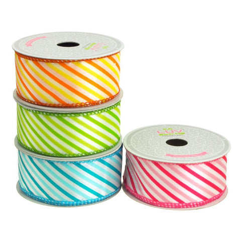 Candy Summer Striped Polyester Ribbon, 1-1/2-Inch, 10 Yards