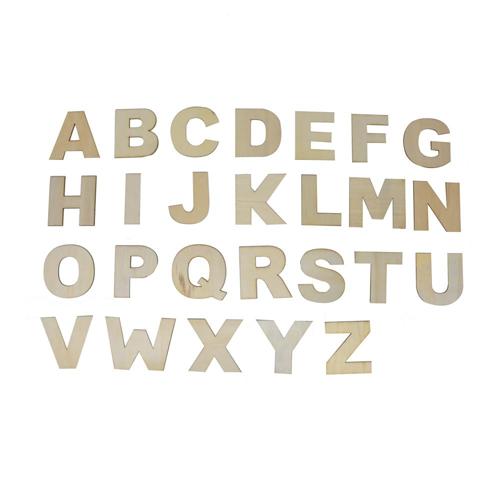 Craft Wood Letters, Natural, 3-Inch, 26-Piece
