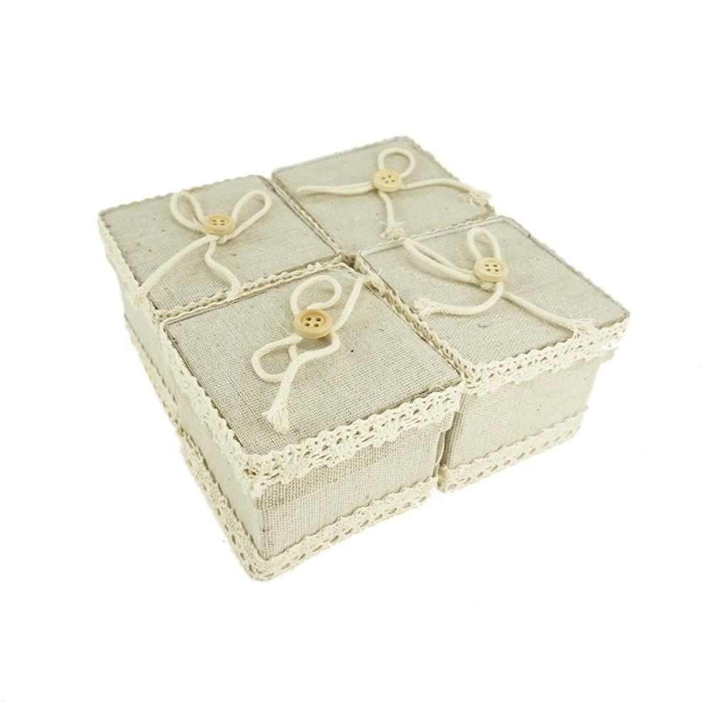 Mini Square Burlap Favor Gift Boxes, Ivory, 2-3/4-Inch, 12-Count