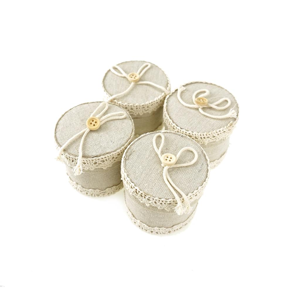 Mini Burlap Favor Gift Boxes, 2-1/2-Inch, 12-Count, Ivory