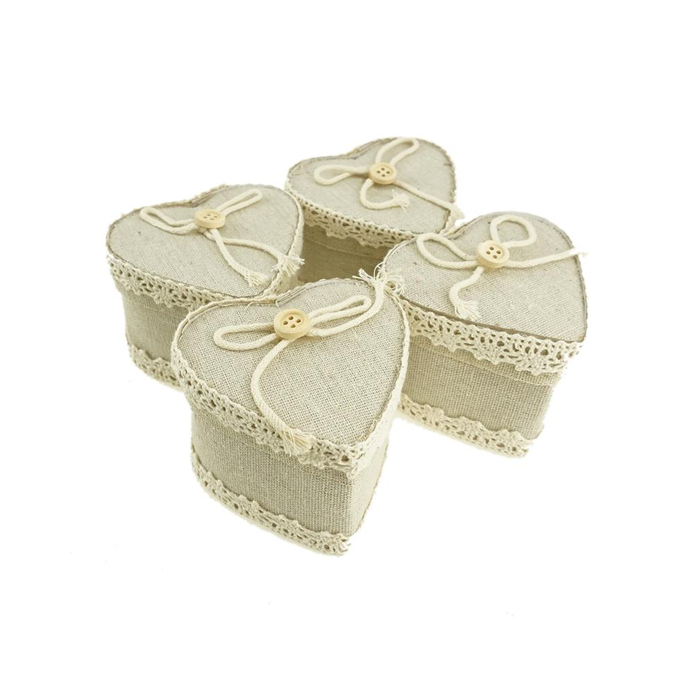 Mini Heart Burlap Favor Gift Boxes, Ivory, 3-Inch, 12-Count