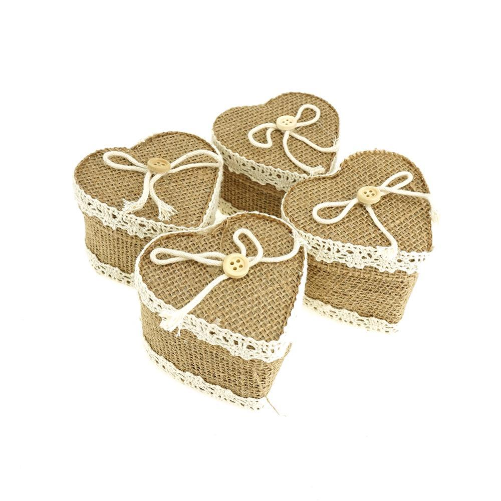 Mini Heart Burlap Favor Gift Boxes, Natural, 3-Inch, 12-Count