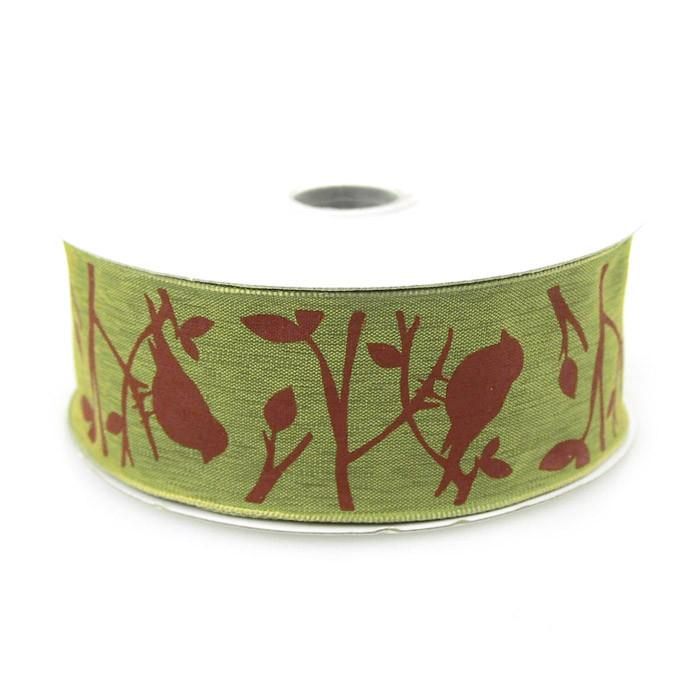 Birds Poly Ribbon Wired Edge, 1-1/2-Inch, 10 Yards, Green