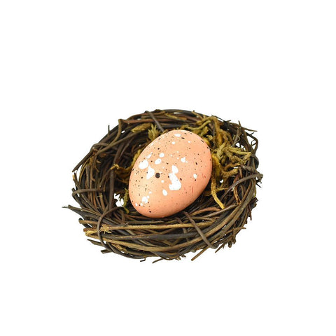 Artificial Bird Nest With Egg, Natural, 2-1/2-Inch