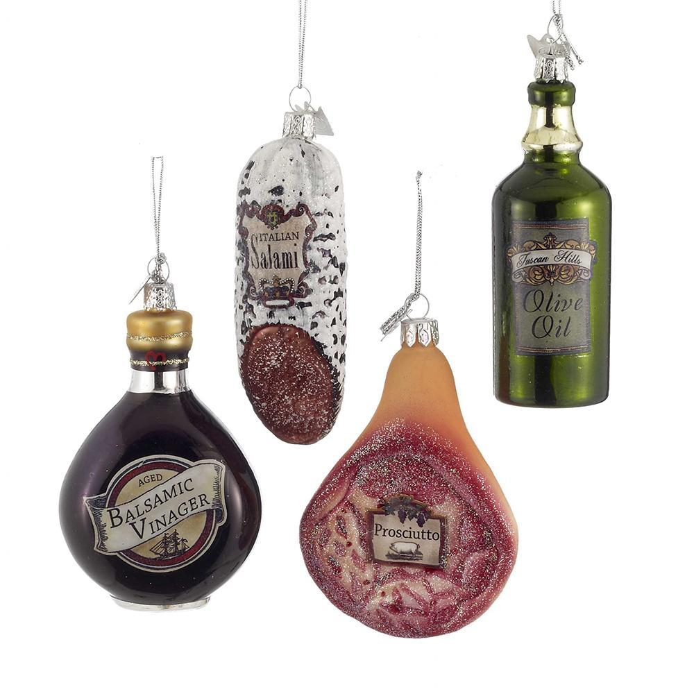 Noble Gems Italian Deli Glass Christmas Ornaments, 4-Piece