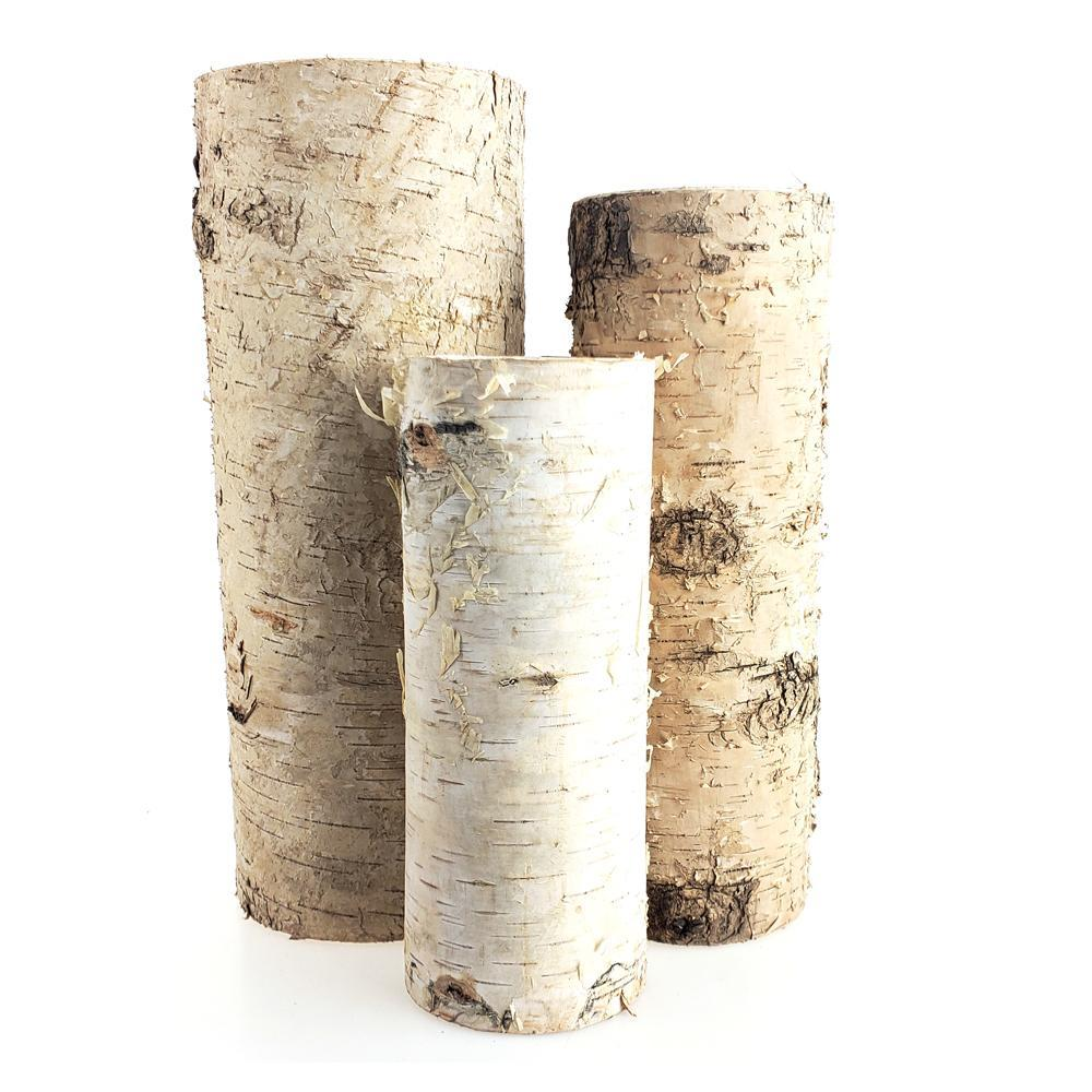 Plastic Birch Wood Vase Containers, 3-Piece