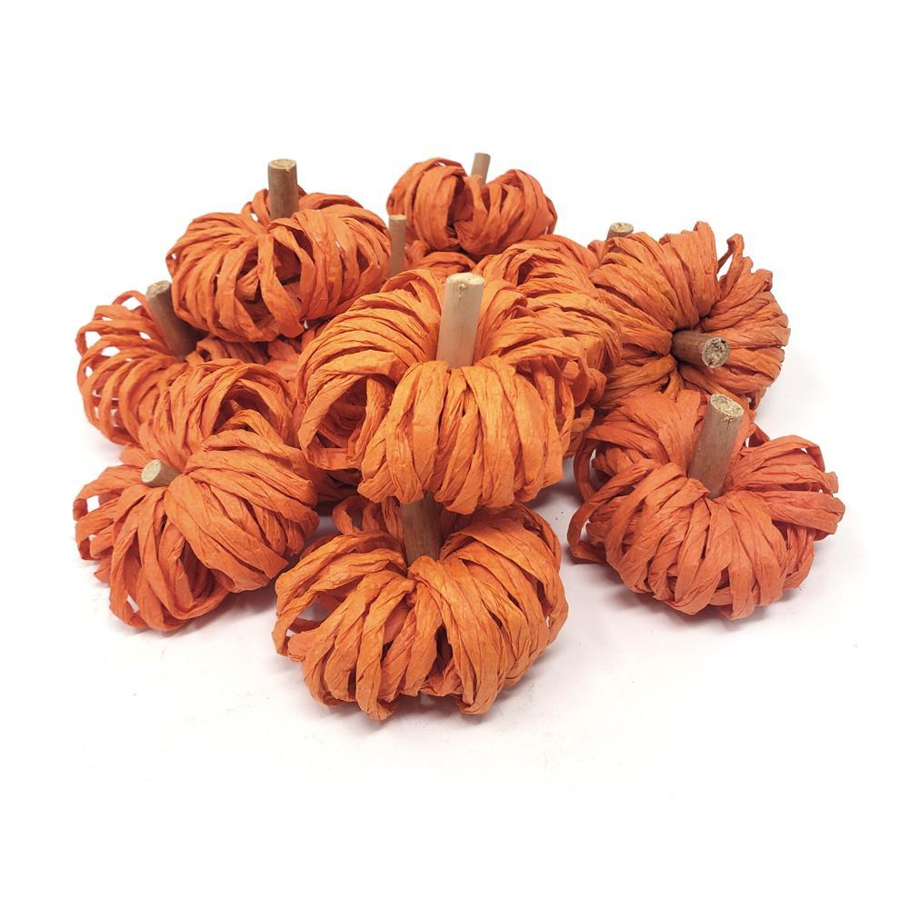 Mini Raffia Craft Pumpkins, 2-Inch, 12-Count
