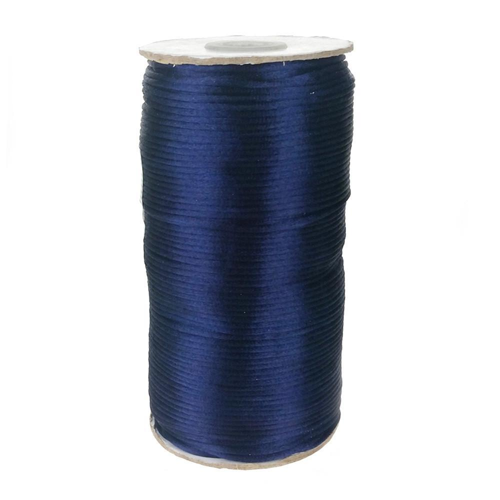 Satin Rattail Cord Chinese Knot, 1/16-Inch, 200 Yards, Navy Blue