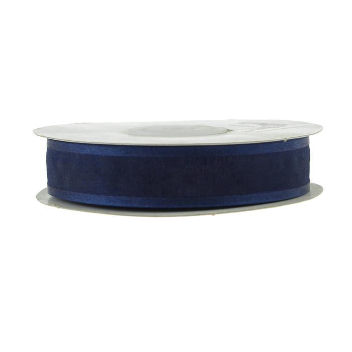 Satin-edge Sheer Organza Ribbon, 7/8-Inch, 25 Yards, Navy Blue