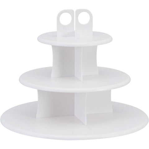 Cake Pop Plastic Cupcake Stand, 3-Tier, White, 10-1/2-Inch