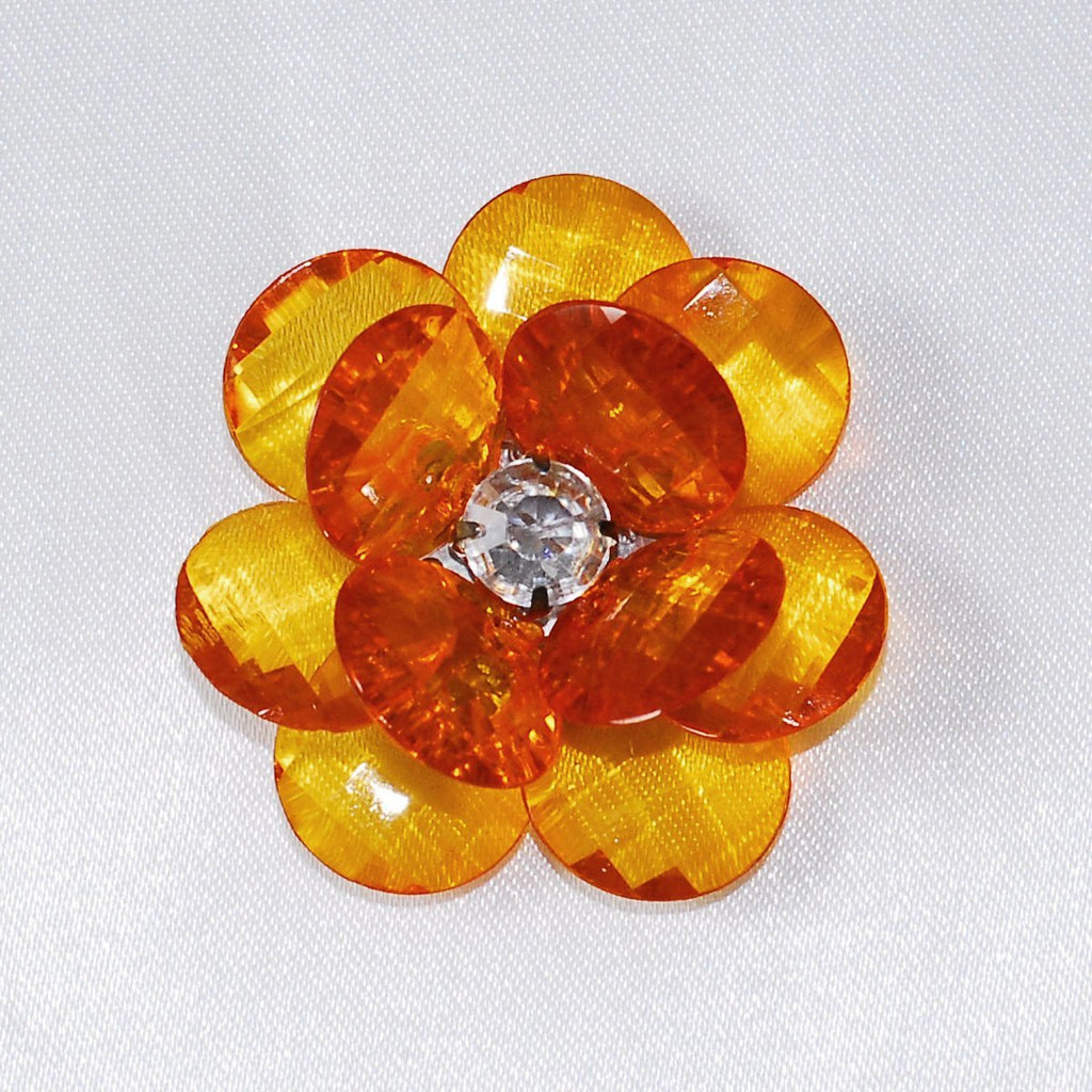 Flower Crystal Lotus, Round Edge, 1-3/4-inch, 6-Piece, Orange
