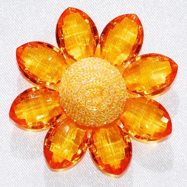 Sunflower Acrylic Crystal Flower, 1-3/4-inch, 6-Piece, Orange