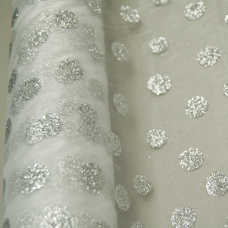 Glitter Dots Organza Roll, 19-Inch, 5 Yards, White
