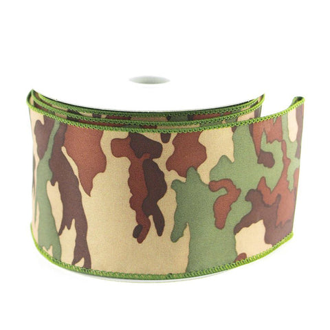 Camouflage Green Polyester Ribbon, 2-1/2-inch, 10-yard