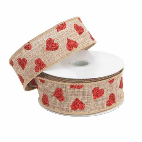 Glitter Hearts Canvas Ribbon Wired Edge, Red/Natural, 1-1/2-Inch, 10 Yards