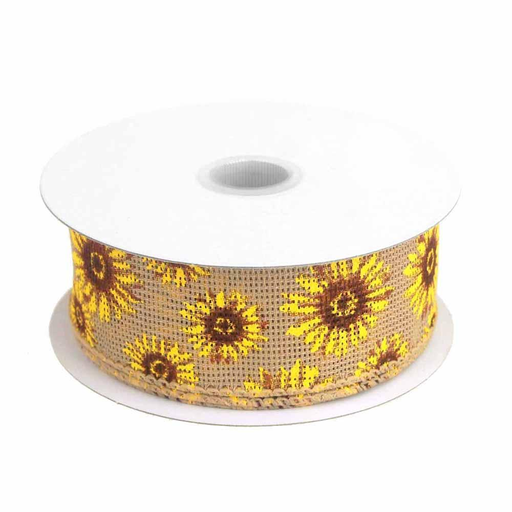 Sun Flowers Faux Burlap Ribbon Wired edge, 1-1/2-Inch, 10 Yards