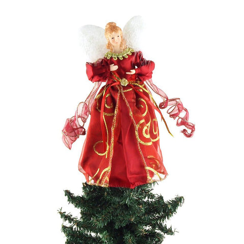 Angel Christmas Tree Topper, Red, 9-Inch