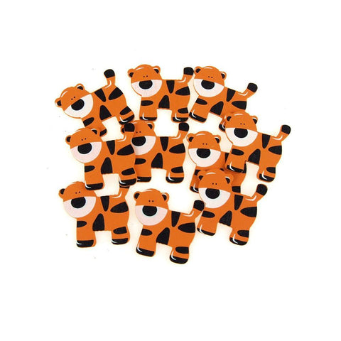 Small Tiger Animal Wooden Baby Favors, 1-1/2-Inch, 10-Piece