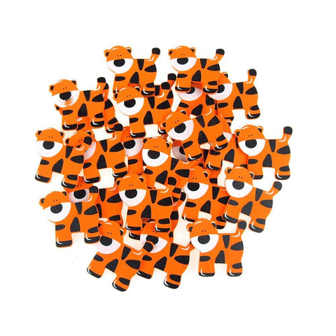 Small Tiger Animal Wooden Baby Favors, 1-1/2-Inch, 25-Piece