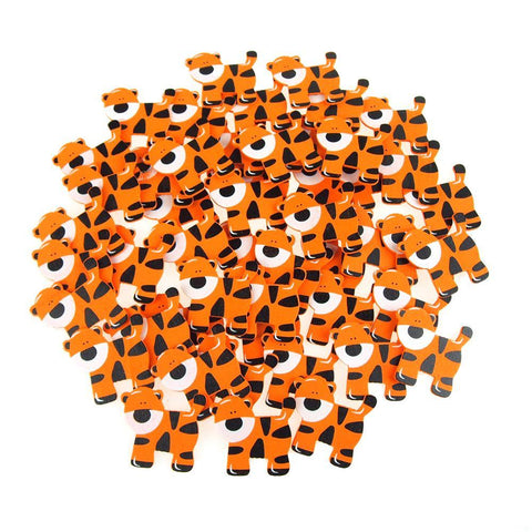 Small Tiger Animal Wooden Baby Favors, 1-1/2-Inch, 50-Piece