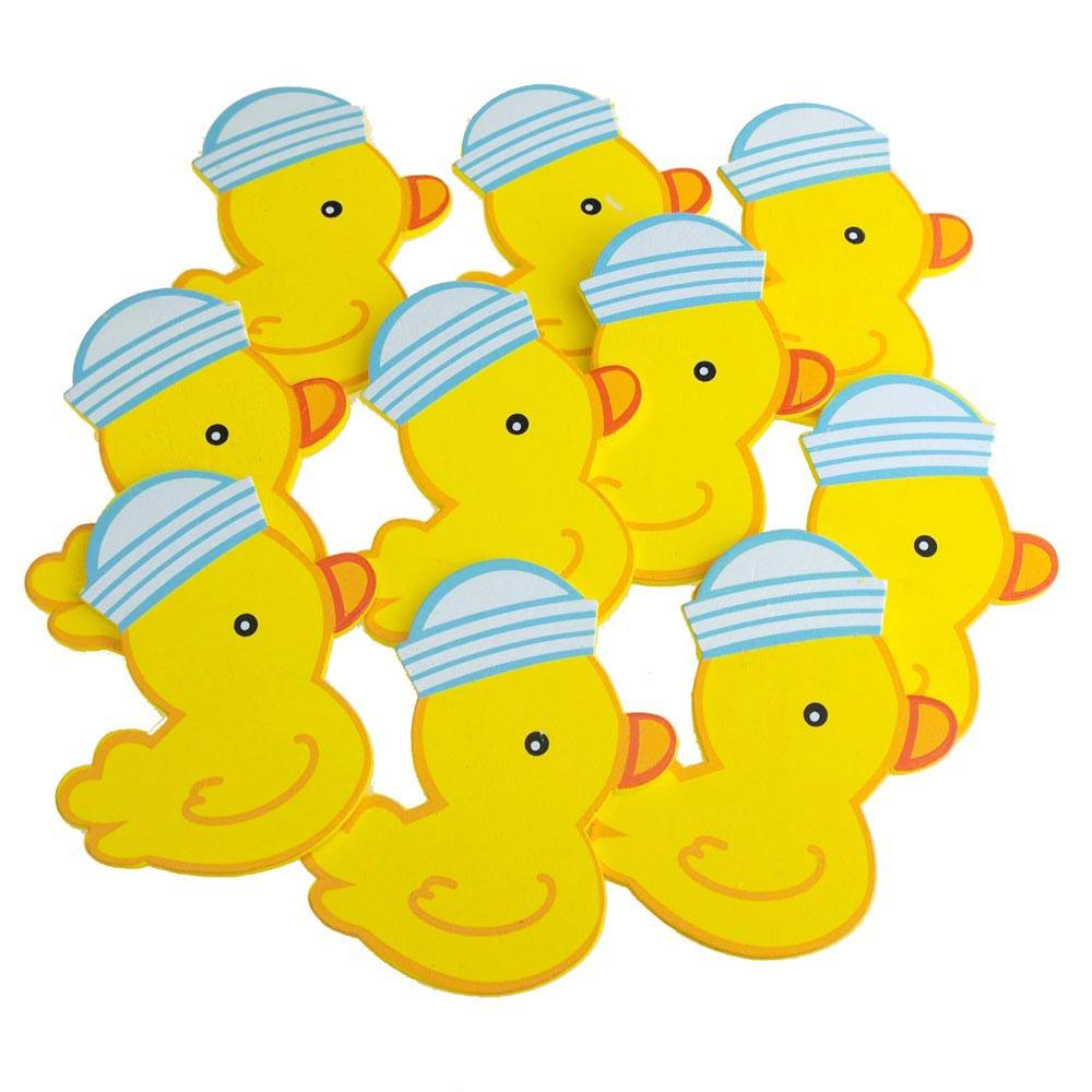 Medium Wooden Rubber Ducky with Hat, Blue, 3-1/4-inch, 10-Piece
