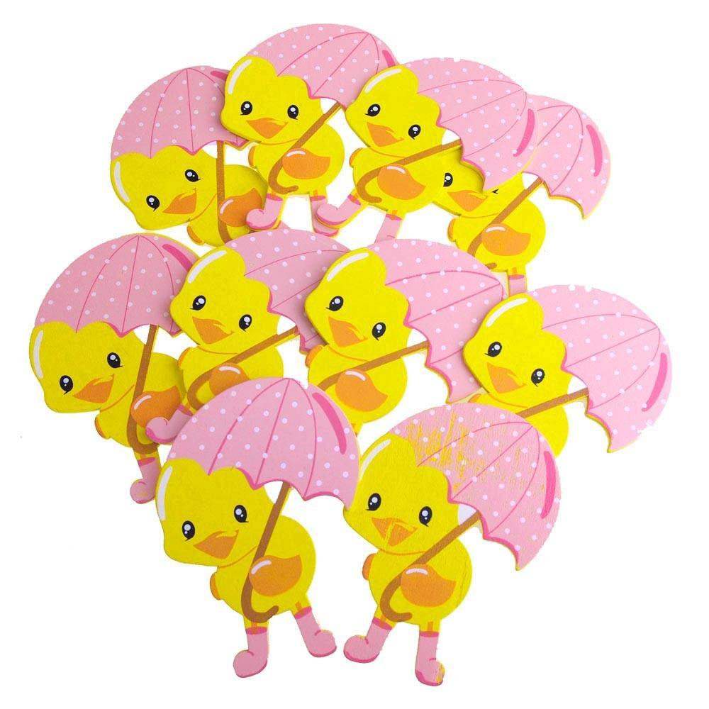 Large Wooden Rubber Ducky with Umbrealla, Pink, 4-Inch, 10-Piece