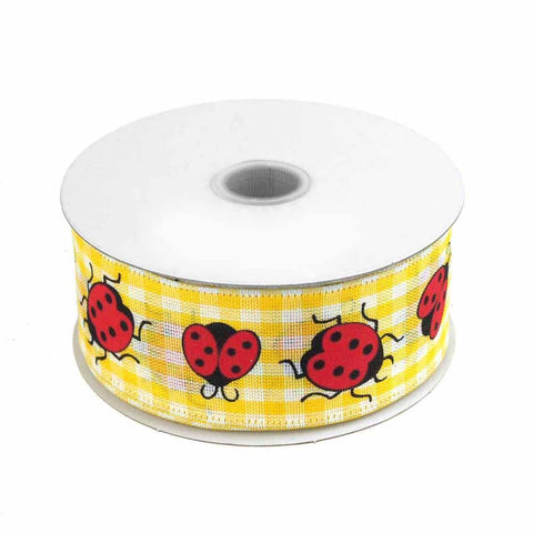 Lady Bug Gingham Canvas Ribbon Wired edge, 1-1/2-Inch, 10 Yards, Yellow