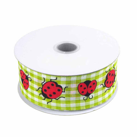 Lady Bug Gingham Canvas Ribbon Wired edge, 1-1/2-Inch, 10 Yards, Green