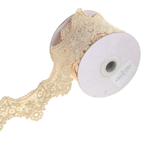 Floral Tiara Crochet Lace Trim Ribbon, Ivory, 2-Inch, 5 Yards