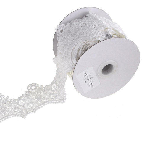 Floral Tiara Crochet Lace Trim Ribbon, White, 2-Inch, 5 Yards