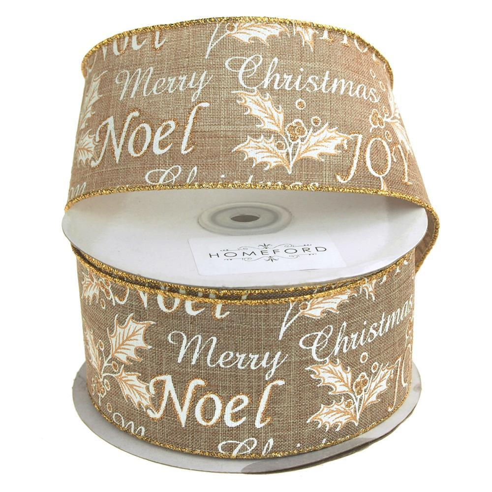 Holiday Greetings Linen Ribbon Wired Edge, 2-1/2-Inch, 20 Yards, Natural