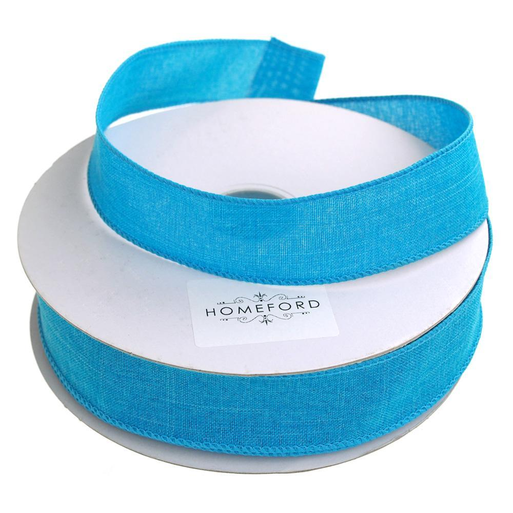 Linen Fabric Ribbon Wired Edge, 1-1/2-Inch, 50 Yards, Turquoise