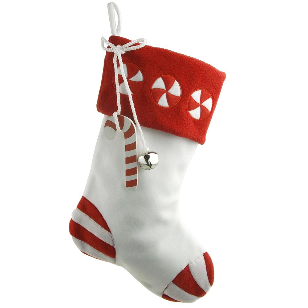 Candy Cane with Bell Christmas Stockings, White/Red, 17-Inch