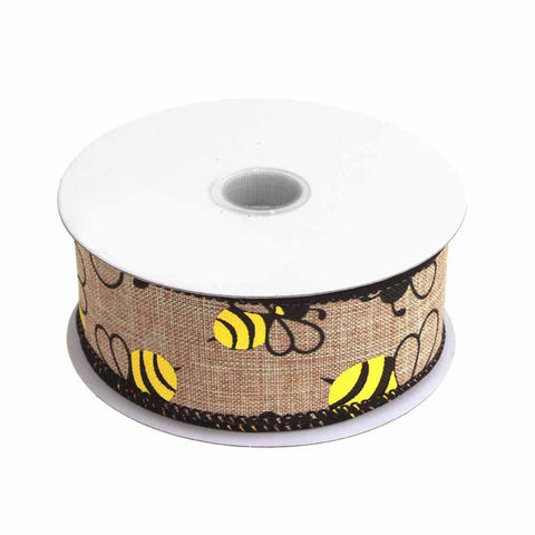 Bumblebees Natural Linen Ribbon Wired Edge, 1-1/2-Inch, 10 Yards