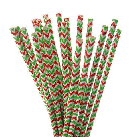 Chevron Striped Holiday Paper Straws, Red/Green, 7-3/4-inch, 20-Piece