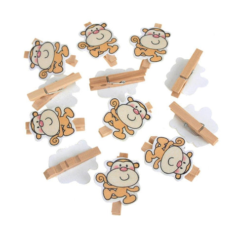 Wooden Monkey Clothespins Baby Favors, 2-Inch, 12-Piece