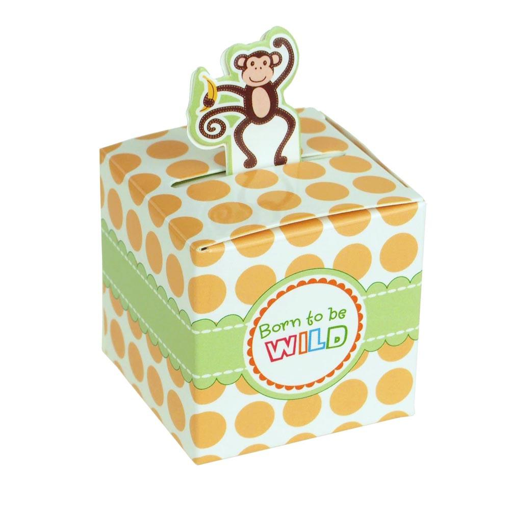 Monkey Safari Animal Baby Shower Favor Boxes, 2-Inch, 12-Piece