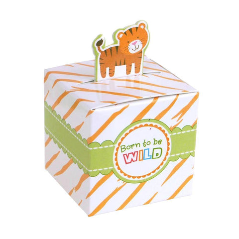 Tiger Safari Animal Baby Shower Favor Boxes, 2-Inch, 12-Piece
