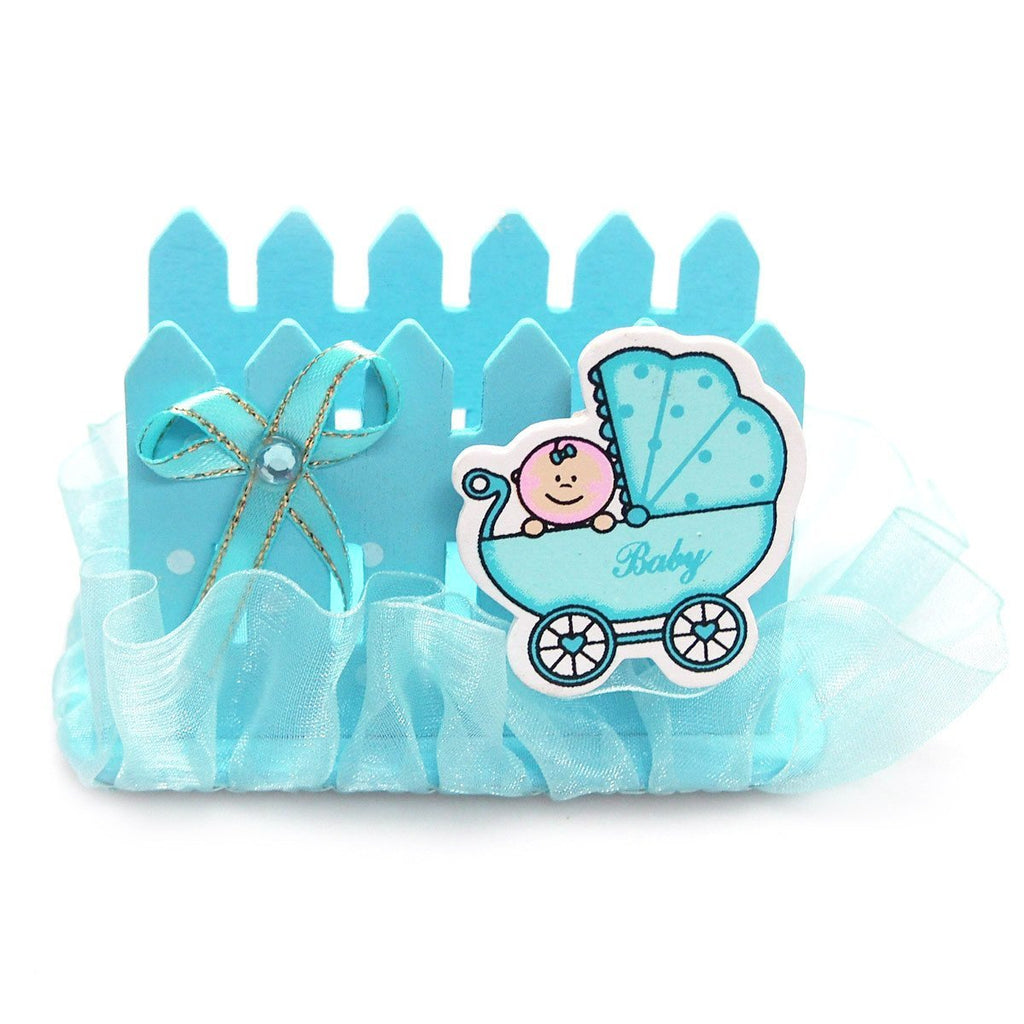Wooden Fence Baby Favor Napkin Holder, 2-Inch, Blue