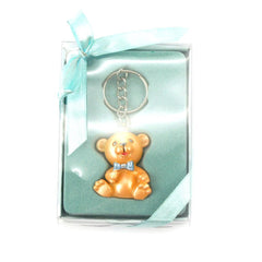 Keychain Favors, 4-Inch, Teddy Bear, Light Blue